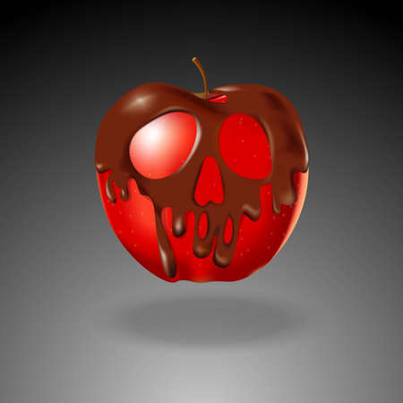 dangers: Chocolate shape skull coated red apple. Halloween concept.