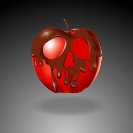 peligro: Cr�neo forma de chocolate recubierto manzana roja. Concepto de Halloween.