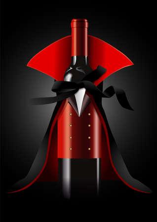 검은 배경에 드라큘라 의상에 와인 병의 일러스트 레이터. 할로윈 개념