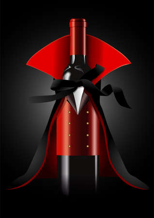 wine background: illustrator of Wine Bottle in Dracula Costume on black background.  Halloween concept
