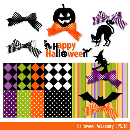 ghouls: Collection of Halloween ornament. Pattern Backgrounds Illustration