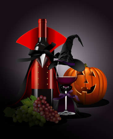 glass with red wine: illustrator of Wine glass and Bottle in Dracula and witch Costume with pumpkin, grape. Still life style. Halloween concept