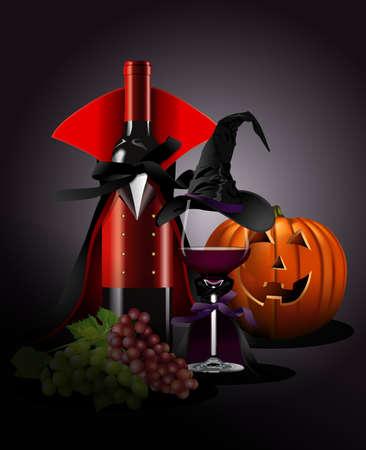 Illustrator von Weinglas und Flasche in Dracula und Hexe Kostüm mit Kürbis, Trauben. Still life style. Halloween-Konzept