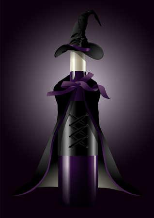 illustrator van de wijnfles in heksenkostuum op zwarte achtergrond concept van Halloween Stock Illustratie