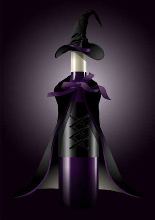 illustrator of Wine Bottle in Witch Costume on black background  Halloween concept