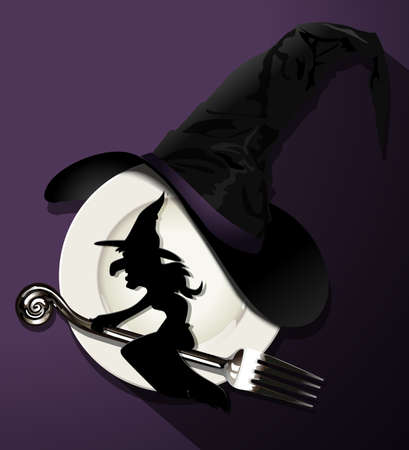 glass bottle: illustrator of Which paper on silver fork, white plate and witch hat on  black background. Halloween concept