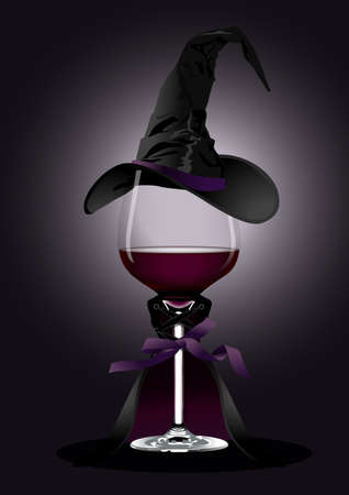 wine background: illustrator of Wine glass in Witch Costume on black background  Halloween concept