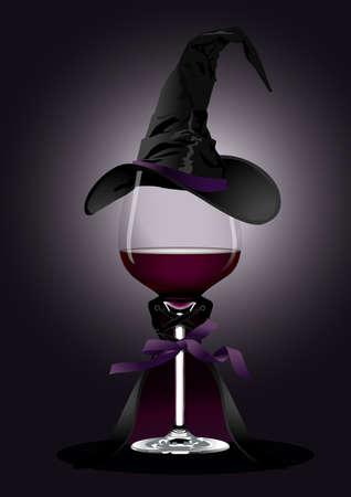 vino: ilustrador de Copa de vino en traje de bruja sobre fondo negro Concepto de Halloween Vectores