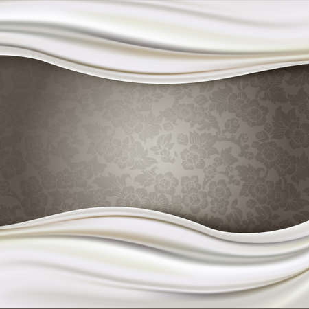silky: Ivory Silk Fabric Border on Brown Patterned Background Illustration