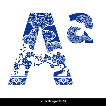 china art: Oriental style alphabet tape A. Traditional Chinese style.
