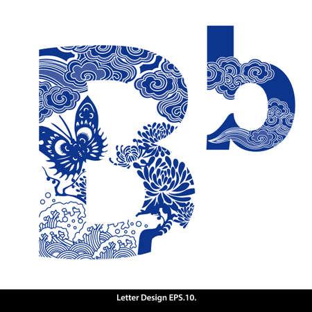 abecedario: Oriental alfabeto estilo cinta B. estilo tradicional chino. Vectores