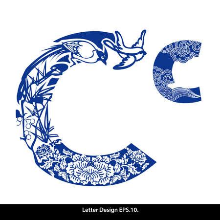 style: Oriental alfabeto estilo cinta C. estilo tradicional chino. Vectores