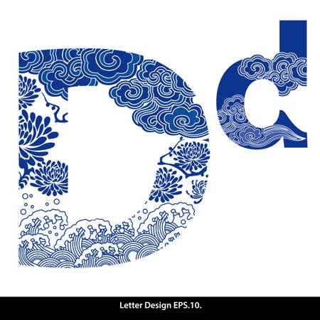 coiffer: Oriental ruban alphabet de style D. de style traditionnel chinois. Illustration