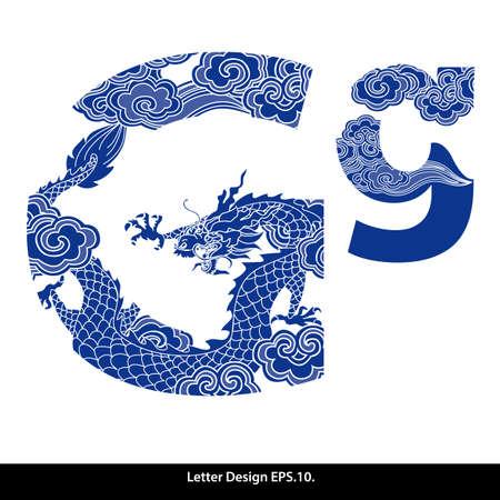 오리엔탈 스타일 알파벳 테이프 G. 전통적인 중국 스타일. 일러스트