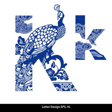 stile: Orientale nastro stile alfabeto stile cinese tradizionale K.. Vettoriali