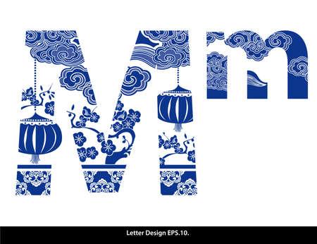 style: Cinta alfabeto estilo oriental M. estilo chino tradicional.