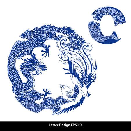 cultura: Cinta alfabeto estilo oriental O. estilo chino tradicional. Vectores