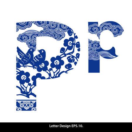 Oosterse stijl alfabet tape P. Traditionele Chinese stijl. Stock Illustratie