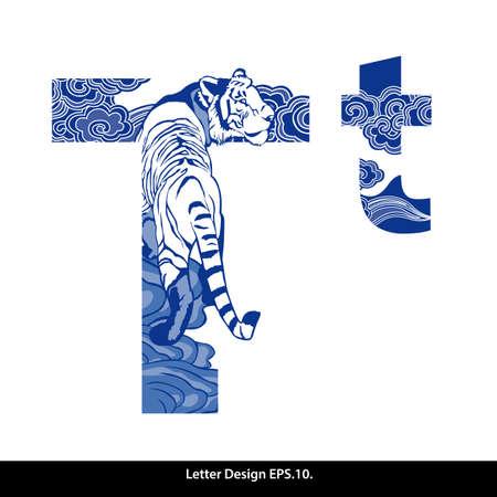 Orientální styl abeceda páska T. Tradiční čínský styl. Ilustrace