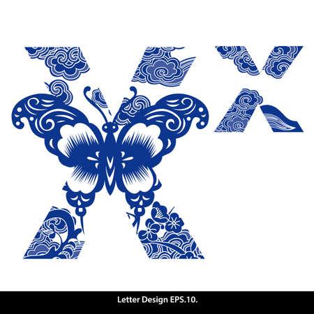 Oosterse stijl alfabet tape X. Traditionele Chinese stijl. Stock Illustratie