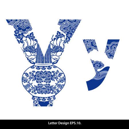 오리엔탈 스타일 알파벳 테이프 (Y) 중국어 (번체) 스타일. 일러스트