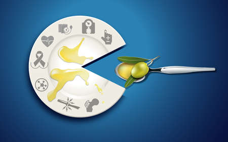 olive: Healthy food series. Benefit of olive oil icon on white plate with olive oil on spoon.