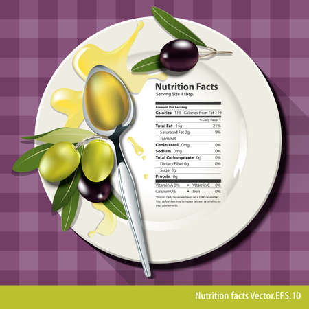 aceite oliva: Hechos de la nutrici�n en una cucharada de aceite de oliva en la placa blanca Vectores