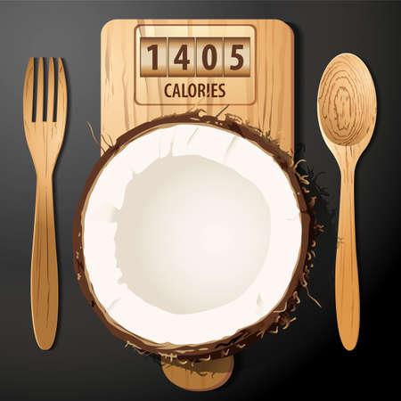 calories: Vector of Calories in coconut