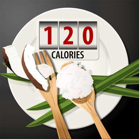 sugar spoon: Vector of Calories in coconut oil