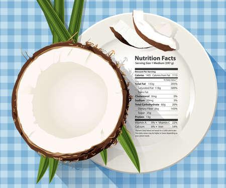 Vector de hechos de nutrición en un coco medio en plato blanco Foto de archivo - 46146516