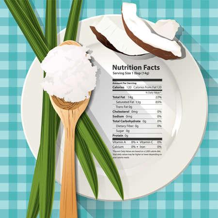 noix de coco: Vecteur de faits de nutrition dans une cuillère à soupe d'huile de noix de coco sur la plaque blanche Illustration