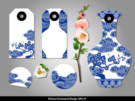 china watercolor paint: Chinese porcelain style cardboard vintage labels. Vector.