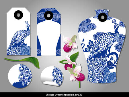 frequent: Chinese porcelain style cardboard vintage labels set. Vector.