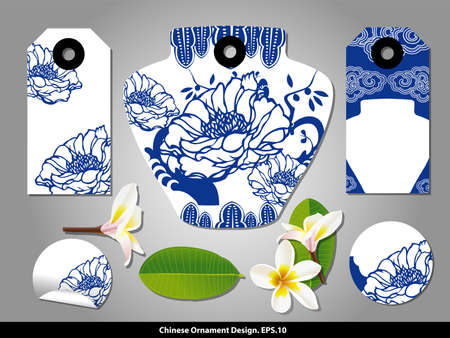 red flower: Chinese porcelain style cardboard vintage labels set. Vector.