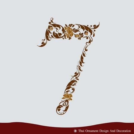 Number Seven in the old vintage style. ABC concept type as logo. Typography design Ilustração