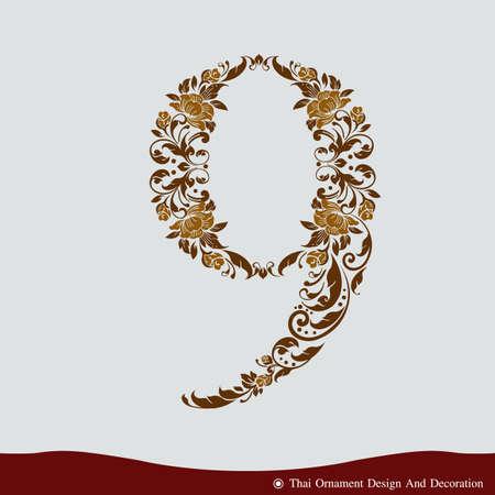 Number Nine in the old vintage style. ABC concept type as logo. Typography design Ilustração