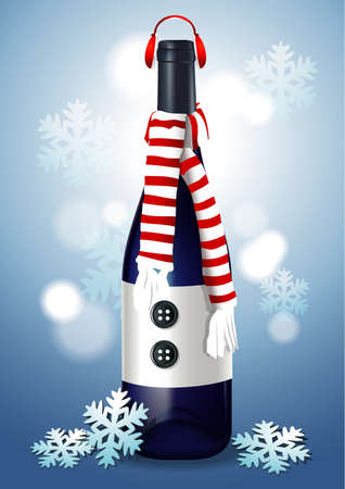Christmas Wine Bottle with Headphone, scarf and snowflake on blue background.
