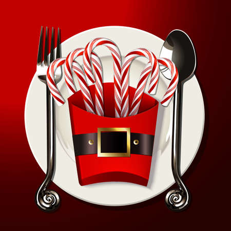 table setting with silver fork, knife and candy cane in santa box on white plate Ilustração