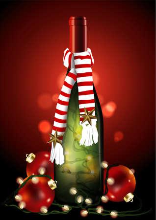 vinho: Garrafa de Vinho do Natal com luz de Natal e bola.