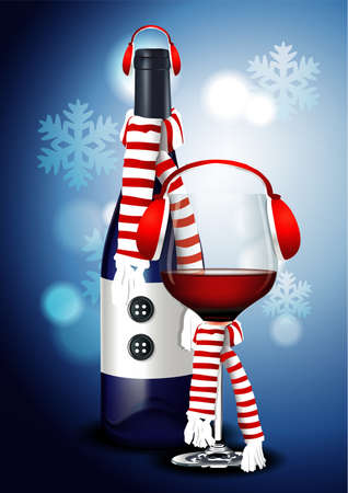 Christmas Wine Glass and Wine Bottle with Headphone, scarf and snowflake on blue background.