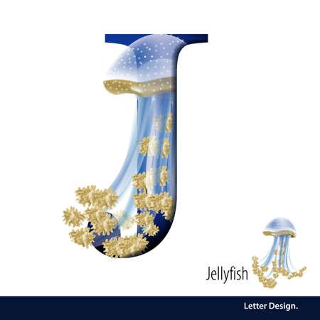 alfabeto con animales: Ilustración de la letra J para las medusas alfabeto. abc Inglés con los animales Educación sobre fondo blanco.