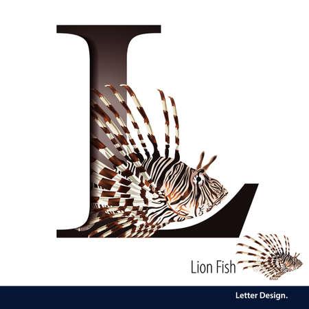 illustration of Letter L is Lion fish alphabet. English abc with animals Education on White background. Illustration