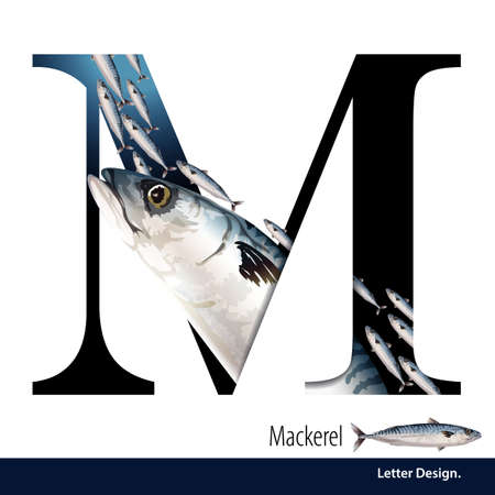 illustration of Letter M is Mackerel alphabet. English abc with animals Education on White background. Ilustração