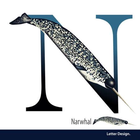 illustration of Letter N is Narwhal alphabet. English abc with animals Education on White background. Ilustração
