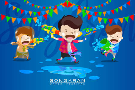 "Vector Illustration for ""Songkran"" or ""Water Festival"" in Thailand and many other countries in Southeast Asia with cute cartoon in the colorful shirt take a water gun to splashing water at each other"