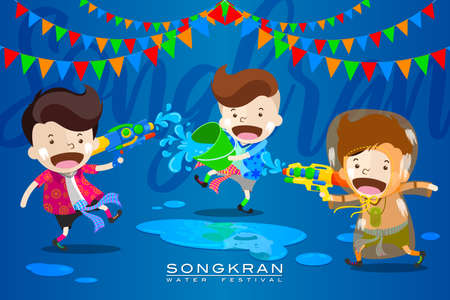 """Vector Illustration for """"Songkran� or """"Water Festival� in Thailand and many other countries in Southeast Asia with cute cartoon in the colorful shirt take a water gun to splashing water at each other"""