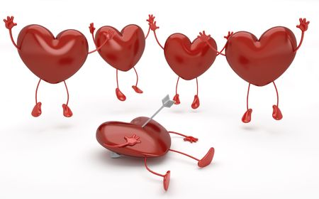 4 happy hearts jumping  around another one lying on the floor pierced by cupid arrow.