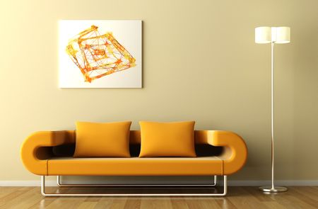 inox: Minimal interior in orange tone with couch lamp and abstract picture Stock Photo