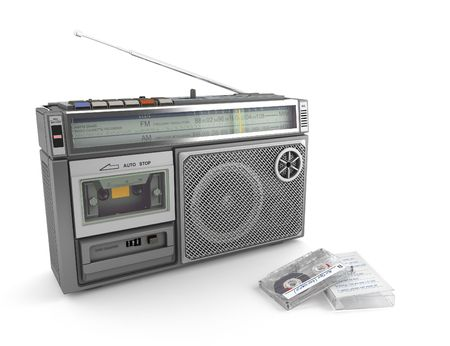 Radio cassette and tape from the 80&acute, isolated on white background Stock Photo - 4151801
