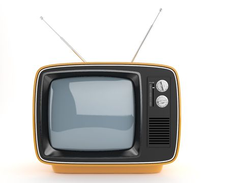frontal: frontal view of an orange retro TV